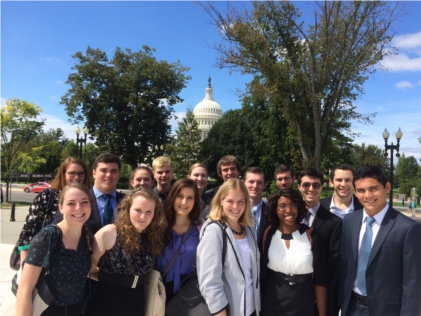 Washington semester students in front of the Capitol
