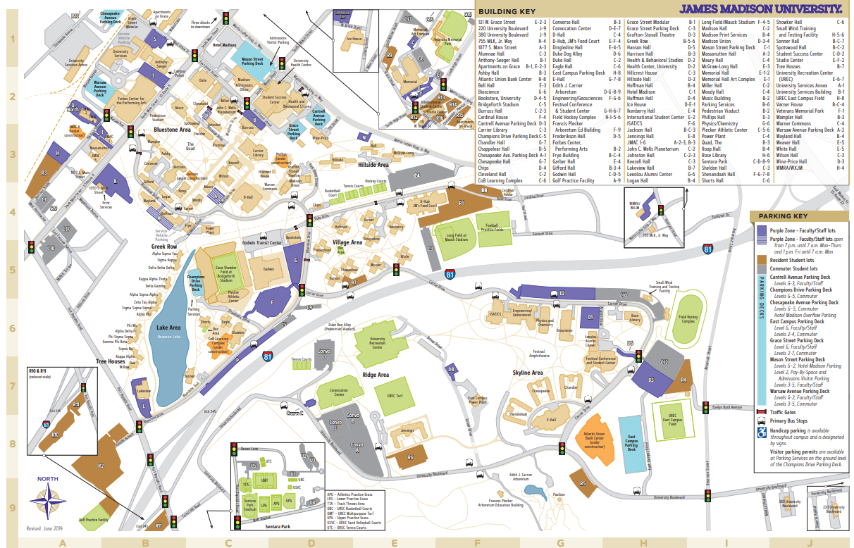 James Madison University - Campus Map on georgia perimeter college map, aquinas college map, grayson county college map, vincennes university map, lee university map, vanderbilt university map, central arizona college map, little italy cleveland ohio map, rhodes college map, cleveland state community college logo, cleveland state campus, great smoky mountains national park map, bryan college map, university of memphis map, college of dupage map, cleveland state community college staff, university of louisville map, mcdonald map,